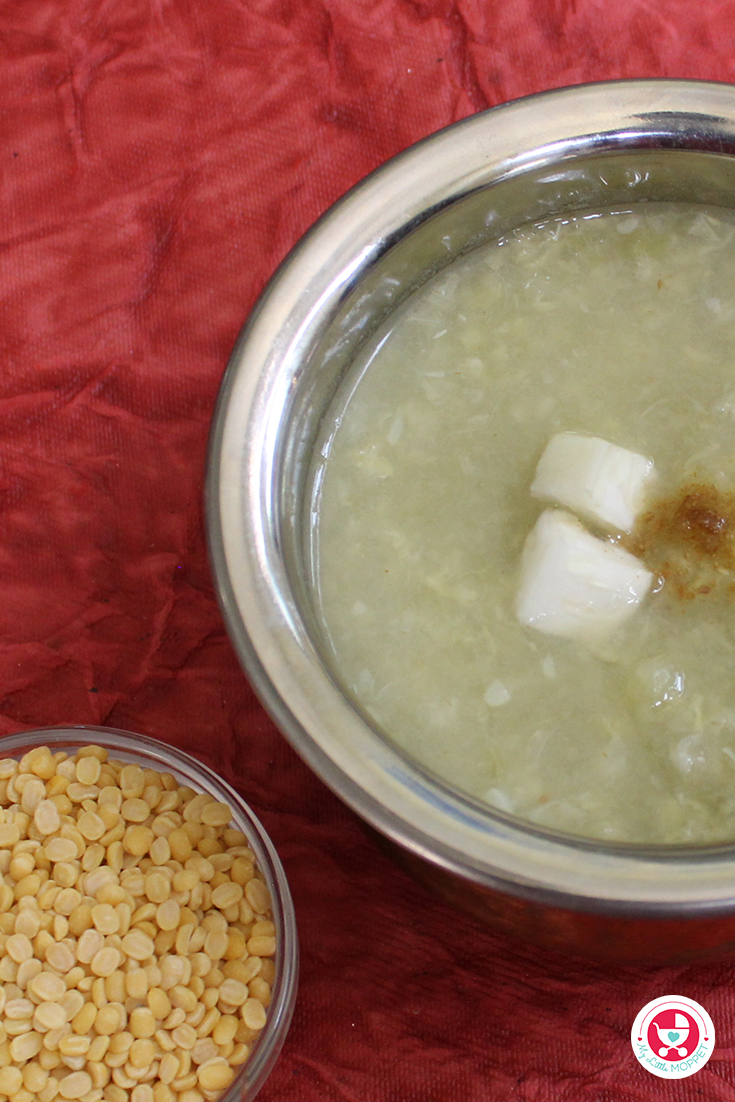 Make protein rich khichdi in just 5 minutes with the bottle gourd puree and my little moppet food's dal powder or instant rice kichadi mix with moong dal. These mixes which are home made with no preservatives or additives make the recipe more nutritious and energy rich. You can add few drops of ghee in the recipe to add more nutrition & yumminess.